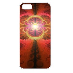 Liquid Sunset, A Beautiful Fractal Burst Of Fiery Colors Apple Iphone 5 Seamless Case (white)