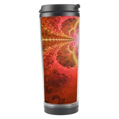Liquid Sunset, A Beautiful Fractal Burst Of Fiery Colors Travel Tumbler by jayaprime