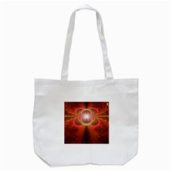 Liquid Sunset, A Beautiful Fractal Burst Of Fiery Colors Tote Bag (white)