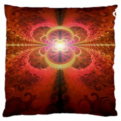 Liquid Sunset, A Beautiful Fractal Burst Of Fiery Colors Large Flano Cushion Case (two Sides)