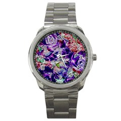 Floral Chrome 01a Sport Metal Watch by MoreColorsinLife
