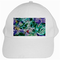 Floral Chrome 01b White Cap by MoreColorsinLife