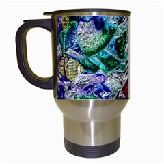 Floral Chrome 01b Travel Mugs (white) by MoreColorsinLife