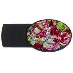 Floral Chrome 01c Usb Flash Drive Oval (4 Gb) by MoreColorsinLife