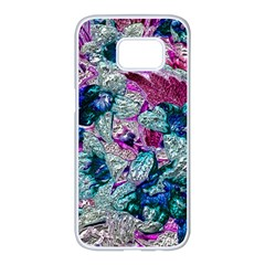 Floral Chrome 2c Samsung Galaxy S7 Edge White Seamless Case by MoreColorsinLife
