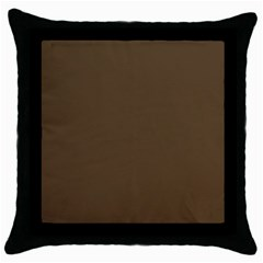 Brown Hide Solid Color  Throw Pillow Case (black) by SimplyColor