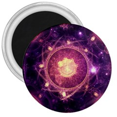 A Gold And Royal Purple Fractal Map Of The Stars 3  Magnets by jayaprime