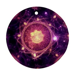 A Gold And Royal Purple Fractal Map Of The Stars Ornament (round)