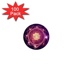 A Gold And Royal Purple Fractal Map Of The Stars 1  Mini Buttons (100 Pack)