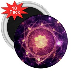 A Gold And Royal Purple Fractal Map Of The Stars 3  Magnets (10 Pack)