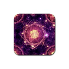 A Gold And Royal Purple Fractal Map Of The Stars Rubber Coaster (square)