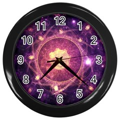 A Gold And Royal Purple Fractal Map Of The Stars Wall Clocks (black) by jayaprime