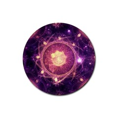 A Gold And Royal Purple Fractal Map Of The Stars Rubber Round Coaster (4 Pack)  by jayaprime
