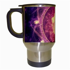 A Gold And Royal Purple Fractal Map Of The Stars Travel Mugs (white) by jayaprime