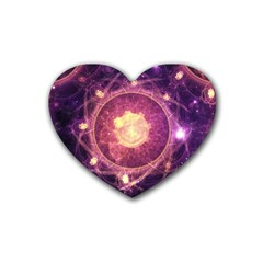 A Gold And Royal Purple Fractal Map Of The Stars Heart Coaster (4 Pack)