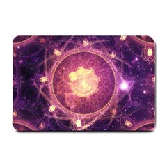 A Gold And Royal Purple Fractal Map Of The Stars Small Doormat  by jayaprime