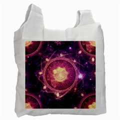 A Gold And Royal Purple Fractal Map Of The Stars Recycle Bag (two Side)