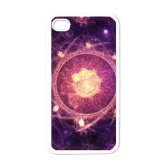 A Gold And Royal Purple Fractal Map Of The Stars Apple Iphone 4 Case (white) by jayaprime