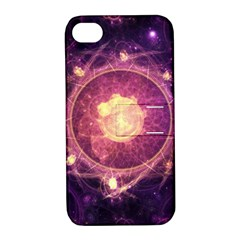 A Gold And Royal Purple Fractal Map Of The Stars Apple Iphone 4/4s Hardshell Case With Stand by jayaprime