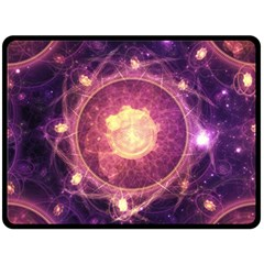 A Gold And Royal Purple Fractal Map Of The Stars Double Sided Fleece Blanket (large)  by jayaprime