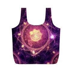 A Gold And Royal Purple Fractal Map Of The Stars Full Print Recycle Bags (m)  by jayaprime