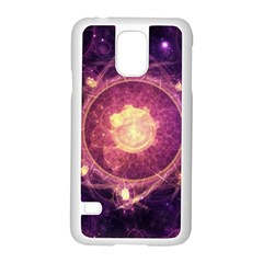 A Gold And Royal Purple Fractal Map Of The Stars Samsung Galaxy S5 Case (white) by jayaprime