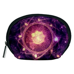A Gold And Royal Purple Fractal Map Of The Stars Accessory Pouches (medium)