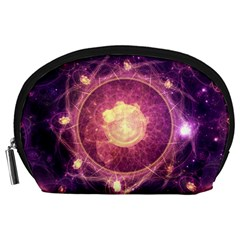 A Gold And Royal Purple Fractal Map Of The Stars Accessory Pouches (large)  by jayaprime