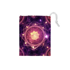A Gold And Royal Purple Fractal Map Of The Stars Drawstring Pouches (small)