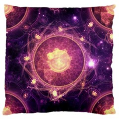 A Gold And Royal Purple Fractal Map Of The Stars Standard Flano Cushion Case (two Sides) by jayaprime
