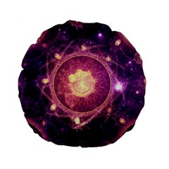 A Gold And Royal Purple Fractal Map Of The Stars Standard 15  Premium Flano Round Cushions