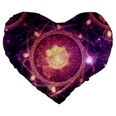 A Gold And Royal Purple Fractal Map Of The Stars Large 19  Premium Flano Heart Shape Cushions