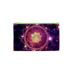 A Gold And Royal Purple Fractal Map Of The Stars Cosmetic Bag (xs)