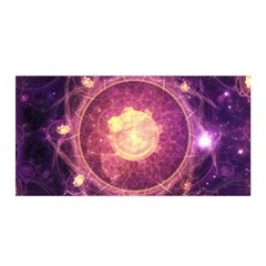 A Gold And Royal Purple Fractal Map Of The Stars Satin Wrap by jayaprime