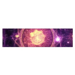 A Gold And Royal Purple Fractal Map Of The Stars Satin Scarf (oblong) by jayaprime