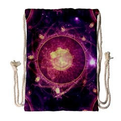 A Gold And Royal Purple Fractal Map Of The Stars Drawstring Bag (large)