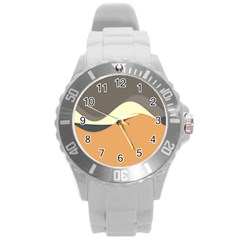 Wave Chevron Waves Material Round Plastic Sport Watch (l) by Mariart