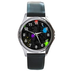 Black Camo Shot Spot Paint Round Metal Watch by Mariart