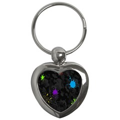 Black Camo Shot Spot Paint Key Chains (heart)  by Mariart