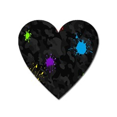 Black Camo Shot Spot Paint Heart Magnet by Mariart