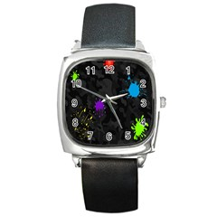 Black Camo Shot Spot Paint Square Metal Watch by Mariart