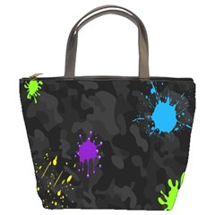 Black Camo Shot Spot Paint Bucket Bags by Mariart
