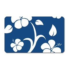 Blue Hawaiian Flower Floral Magnet (rectangular) by Mariart