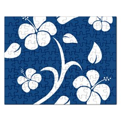 Blue Hawaiian Flower Floral Rectangular Jigsaw Puzzl by Mariart