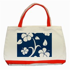 Blue Hawaiian Flower Floral Classic Tote Bag (red) by Mariart