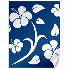 Blue Hawaiian Flower Floral Canvas 18  X 24   by Mariart