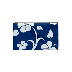 Blue Hawaiian Flower Floral Cosmetic Bag (small)  by Mariart