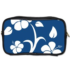 Blue Hawaiian Flower Floral Toiletries Bags by Mariart
