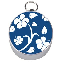 Blue Hawaiian Flower Floral Silver Compasses by Mariart