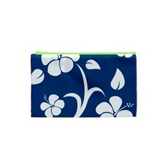 Blue Hawaiian Flower Floral Cosmetic Bag (xs) by Mariart